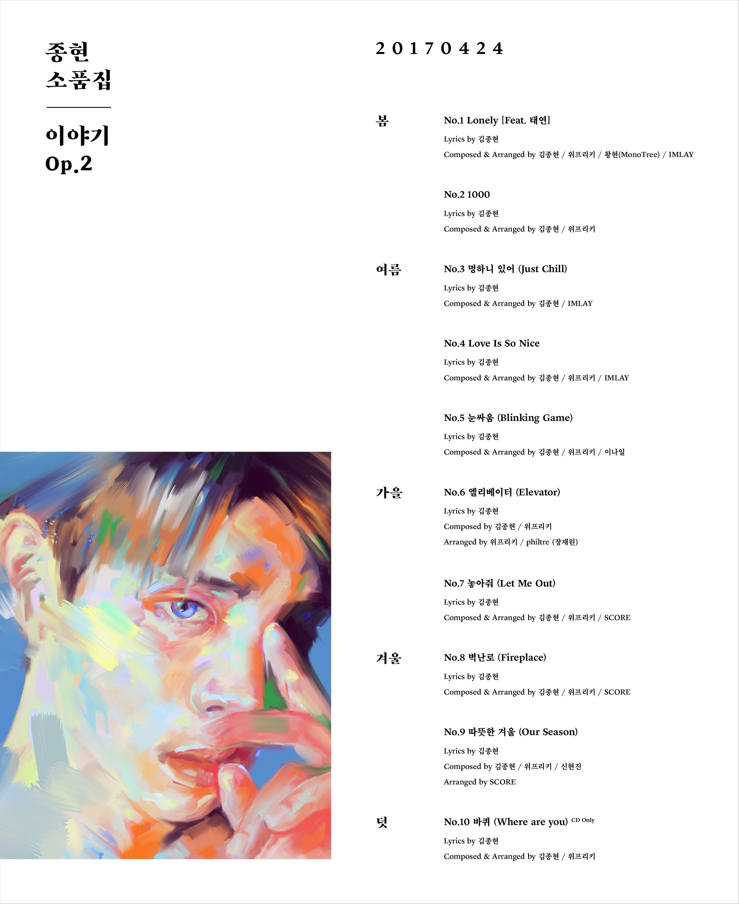 [Tracklist] JONGHYUN – Story Op.2