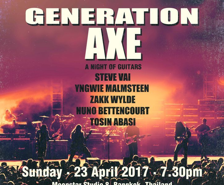 Generation Axe โชว์ขุมพลัง 5 เทพกีต้าร์ ใน A Night of Guitars  Asia Tour 2017 Live Concert  in Bangkok 23 เม.ย.นี้